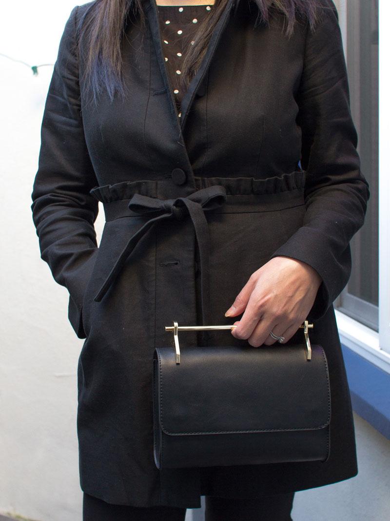 Black wrap coat | polka dot top | black ankle pants | black bow booties | gold handle purse | www.shoppingmycloset.com      @jcrew #jcrew @loft #loft @katespade #katespade @forever21 #forever21