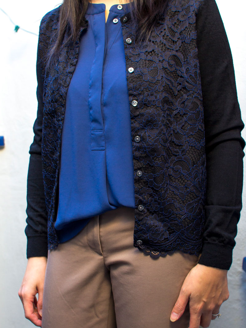 Black & navy lace cardigan | blue silk blouse | ankle crop pants |nude d'orsday heel | www.shoppingmycloset.com   @jcrew #jcrew @anntaylor #anntaylor @francosarto #francosarto
