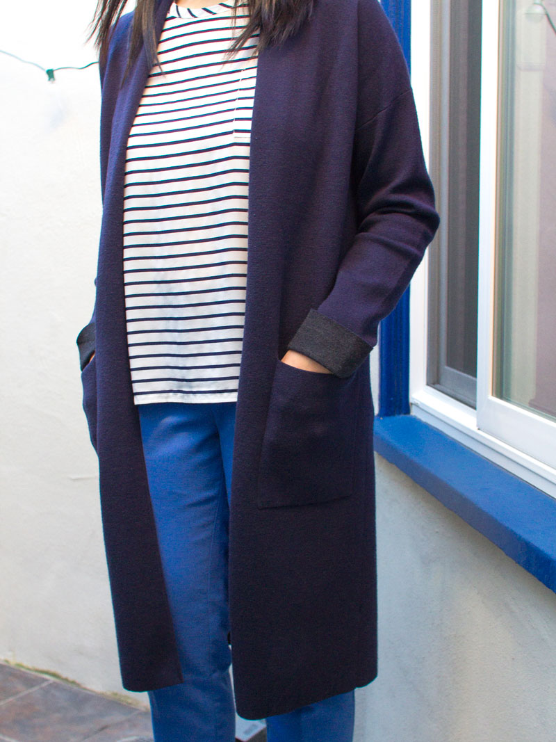 Long navy cardigan | striped top | blue ankle pants | grey d'orsday heels | www.shoppingmycloset.com    @theory #theory @oldnavy #oldnavy @jcrew #jcrew @vincesays #vince
