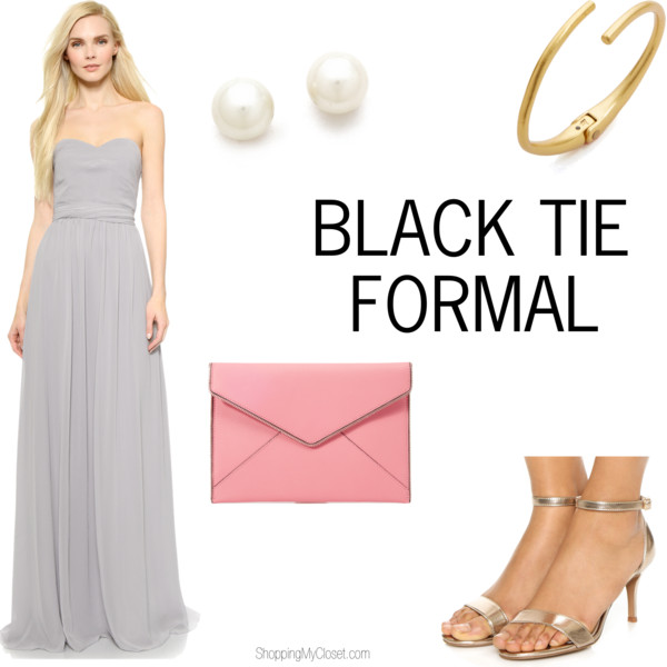 Black tie formal wedding guest attire | see all the details at www.shoppingmycloset.com