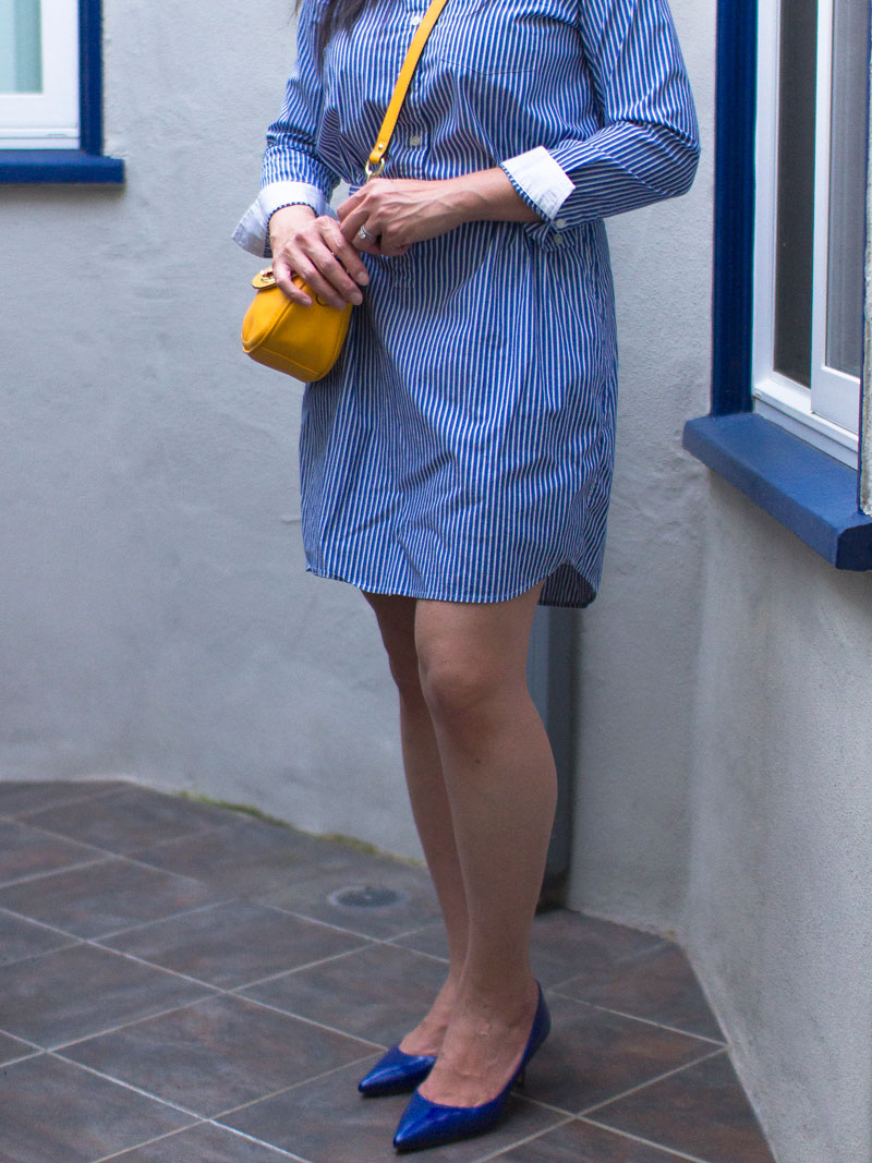 Blue stripe shirtdress | yellow mini crossbody purse | blue heels | www.shoppingmycloset.com    @bananarepublic #bananarepublic @target #target @lkbennett @lkbennett