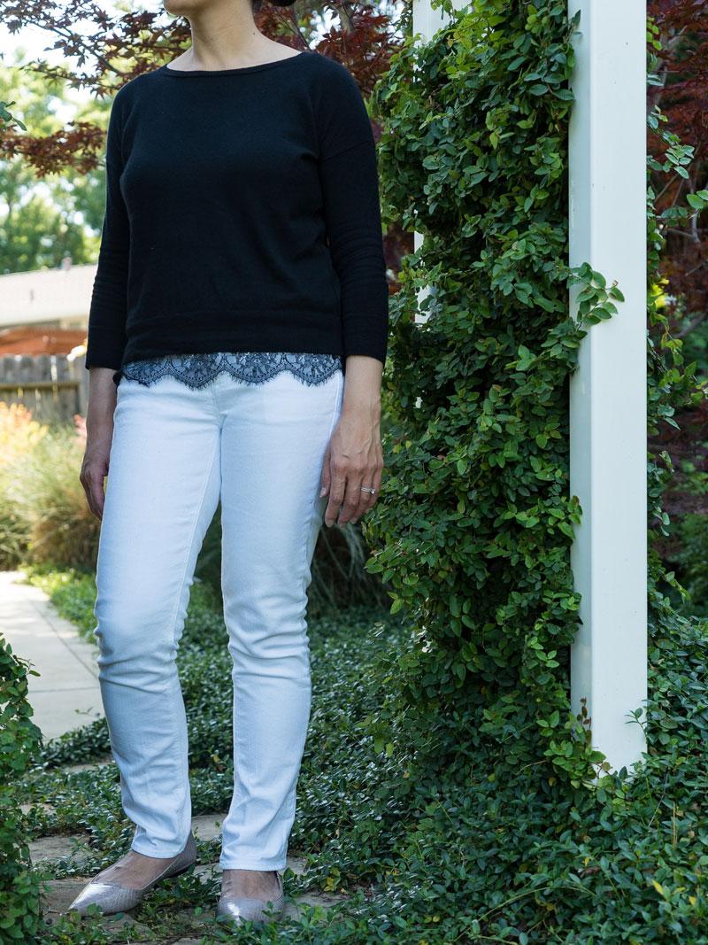 Black lace trim sweater | white jeans | pink snakeskin flats | www.shoppingmycloset.com    @joie #joie @jcrew #jcrew @vincecamuto #vincecamuto