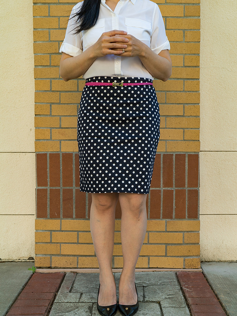 Cream silk blouse | pink bow belt | polka dot skirt | black heels | www.shoppingmycloset.com    @equipment #equipment @bananarepublic #bananarepublic @jcrew #jcrew @toryburch #toryburch