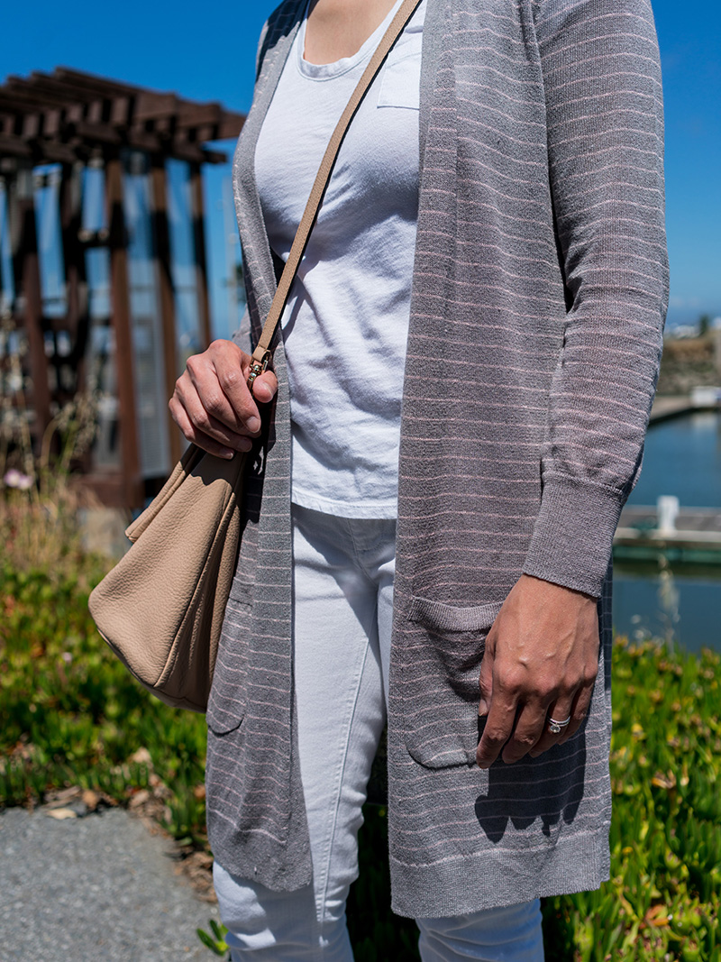 Grey and pink stripe long cardigan | white tee | white straight jeans | pink snakeskin flat | crossbody tote | www.shoppingmycloset.com     @nordstrom #nordstrom @gap #gap @jcrew #jcrew @vincecamuto #vince camuto @katespade #katespade