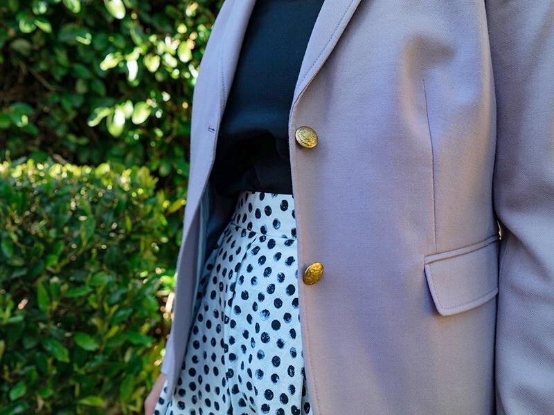 Lavender blazer | black silk tank top | polka dot midi skirt | black heels | www.shoppingmycloset.com    @jcrew #jcrew @target #target @whowhwhatwear #whowhatwear @toryburch #toryburch