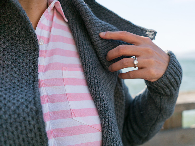Grey waffle sweater | pink stripe popover | grey skinny jean | black quilted flat | grey purse | www.shoppingmycloset.com     @vincesays #vince @oldnavy #oldnavy @jcrew #jcrew @bananarepublic #bananarepublic @marcjacobs #marcjacobs
