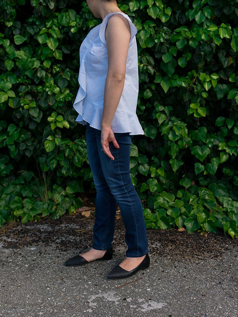 Pinstripe ruffle front top | blue skinny jeans | black d'orsay flats | www.shoppingmycloset.com       @bananarepublic #bananarepublic @jcrew #jcrew @colehaan #colehaan