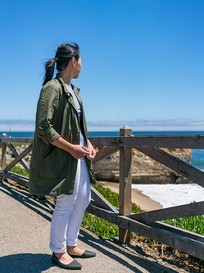 Olive green military jacket | grey stripe peplum | white straight leg jeans | black d'orsay flats | www.shoppingmycloset.com    @target #target @bananarepublic #bananarepublic @jcrew #jcrew @colehaan #colehaan