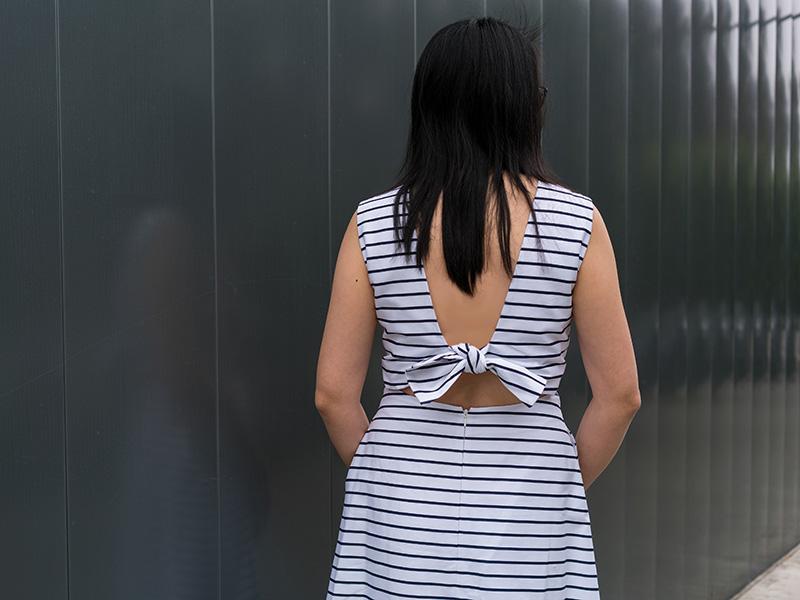 Stripe midi dress | nude laser pump | www.shoppingmycloset.com    @katespade #katespade @valentino #valentino