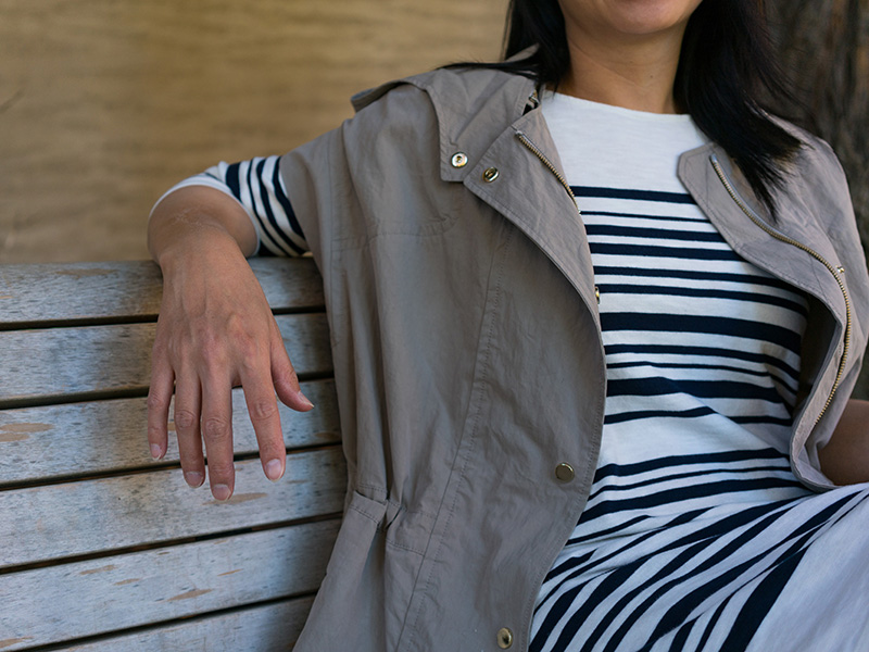 Tan short sleeve anorak | stripe dress | white sneakers |     @vincesays #vince @joie #joie @adidas #adidas