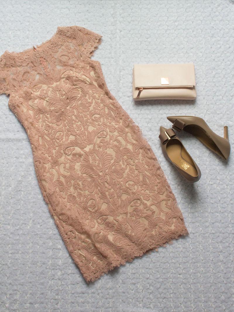 Pink lace overlay dress | pink clutch | pink bow heels | www.shoppingmycloset.com   @tadashishoji #tadashishoji @tedbaker #tedbaker @ferragamo #ferragamo