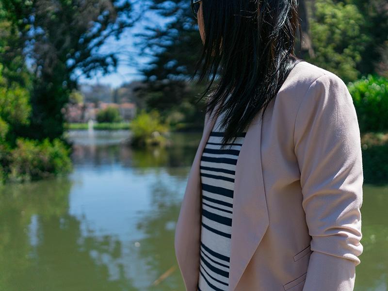 Pink blazer | stripe dress | pink ankle strap heels | www.shoppingmycloset.com @target #target @joie #joie @marcfisher #marcfisher