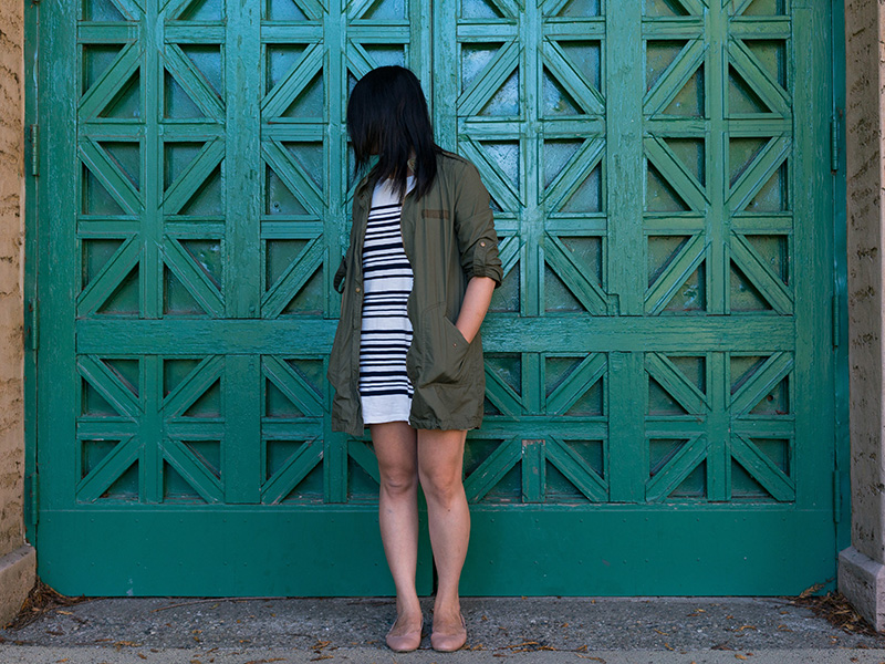 Military-inspired green jacket | stripe shirt dress | scallop ballet flats | www.shoppingmycloset.com   @target #target @joie #joie @chloefashion #chloe