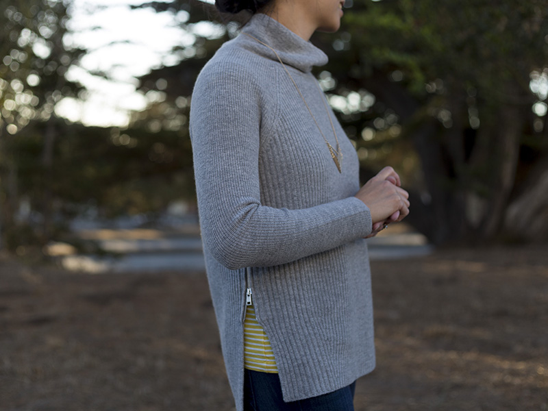 Grey turtleneck sweater with side zip | Yellow stripe tee | skinny jeans | grey ankle booties | chevron pendant necklace | www.shoppingmycloset.com