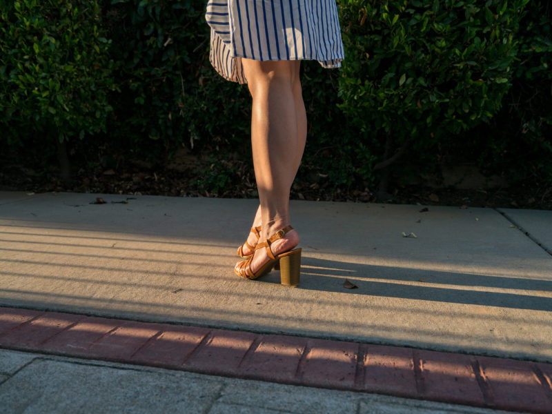 Stripe tie waist dress | block heel sandal | www.shoppingmycloset.com