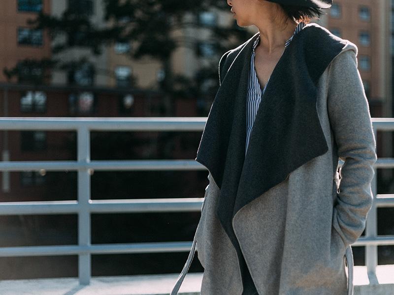 Reversible grey & black wrap coat   stripe button down blouse   skinny jeans   grey ankle boots   black wool hat   www.shoppingmycloset.com    @soiakyo #soiakyo @expressrunway #express @paigedenim #paige @samedelman #samedelman @hm #hm