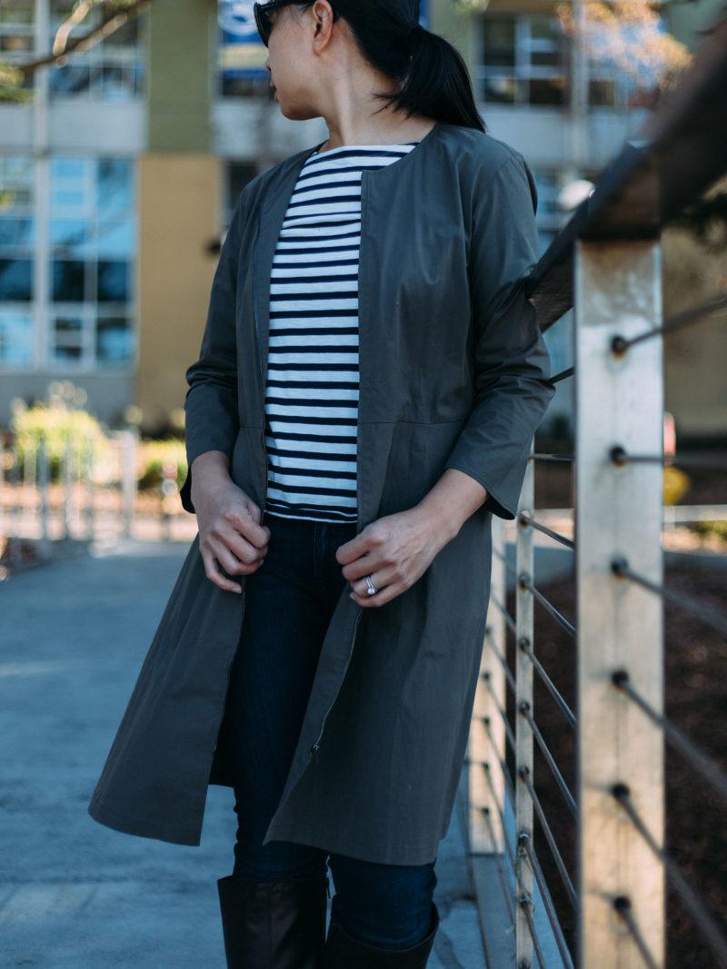 Green dress (worn as a coat)   stripe top   skinny jeans   brown heeled boots   www.shoppingmycloset.com .    @theory #theory @jcrew #jcrew @paige #paigedenim @aerosoles #aerosoles