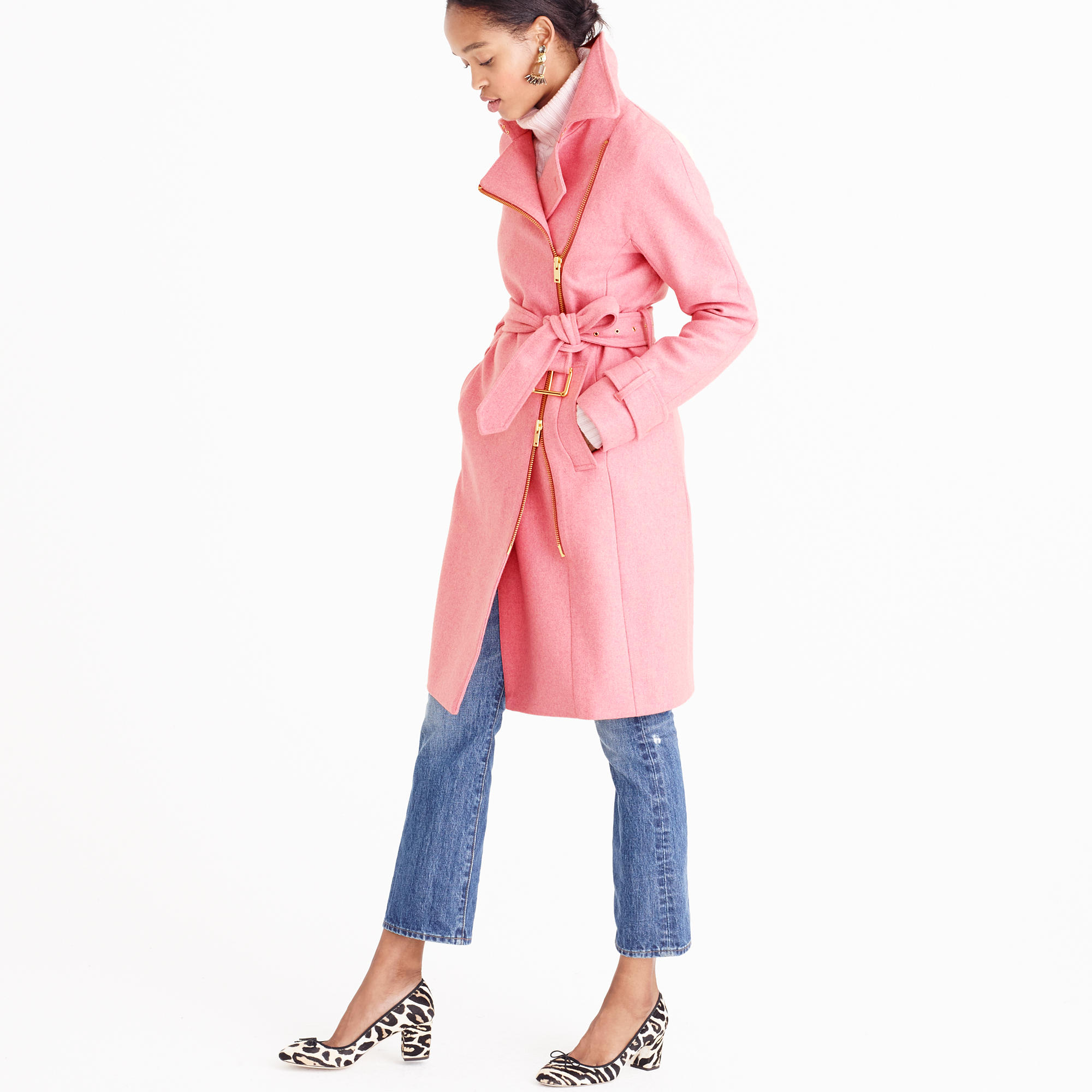 J.Crew pink belted trench coat in wool | see more on www.shoppingmycloset.com