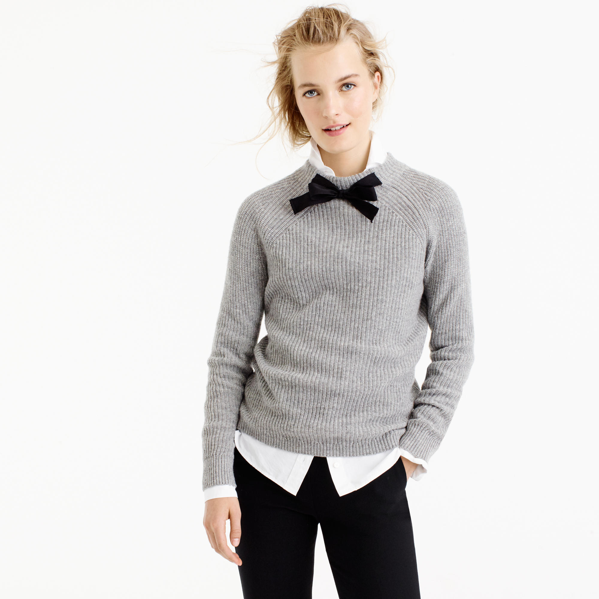 J Crew grey tie neck sweater |  | see more on www.shoppingmycloset.com #jcrew