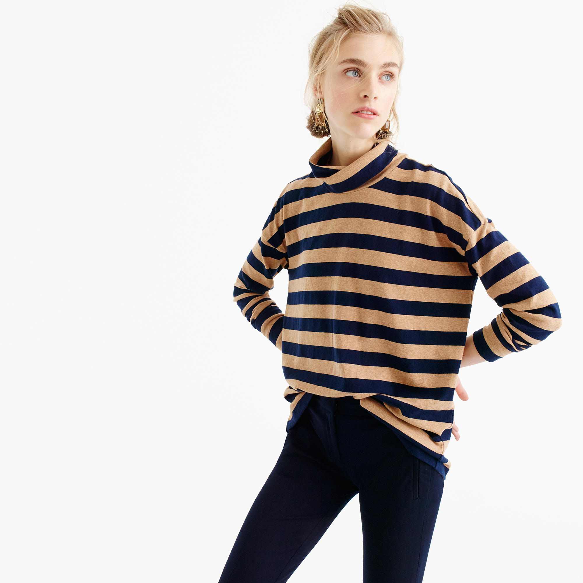 J Crew striped turtleneck |  | see more on www.shoppingmycloset.com