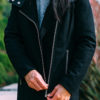 Hooded asymmetrical coat | grey crop mockneck sweater | white tunic | skinny jeans | grey lace heels | www.shoppingmycloset.com @andrewmarc #andrewmarc @topshop #topshop @ragandboneny #ragandbone @paige #paige @bananarepublic #bananarepublic