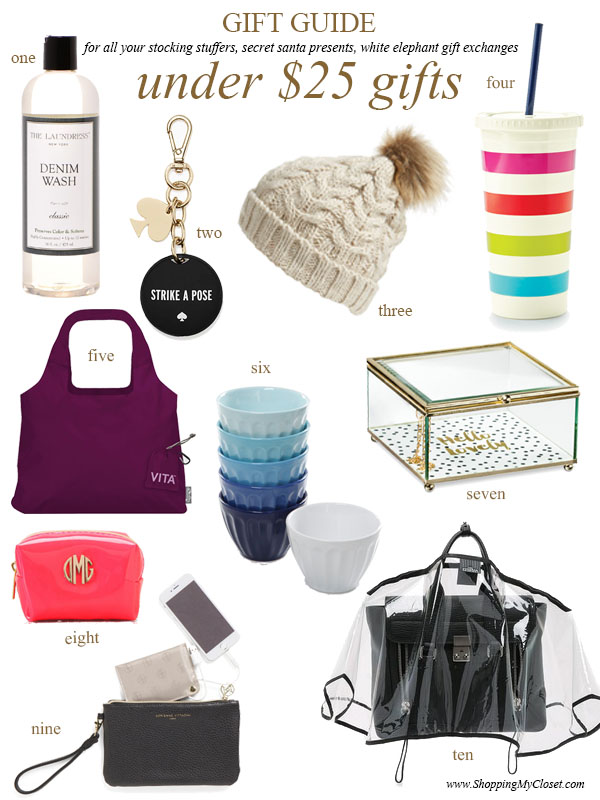 2016 holiday gift guide: under $25 gifts (perfect for stocking stuffers, white elephant, secret santa) | see all the picks at www.shoppingmycloset.com