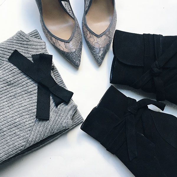 Grey bow tie front sweater | grey lace heels | black ankle tie boots | see all the items at www.shoppingmycloset.com   @jcrew #jcrew @bananarepublic #bananarepublic