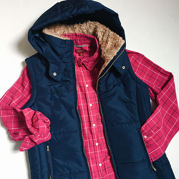 Navy faux-fur lined hoodie vest | pink plaid flannel | www.shoppingmycloset.com