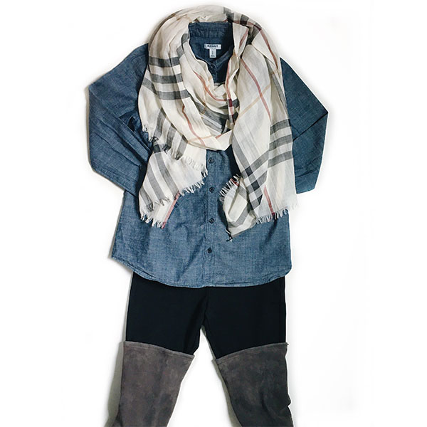 Burberry scarf | chambray shirt | black leggings | grey over-the-knee OTK boots | www.shoppingmycloset.com  @burberry #burberry @oldnavy #oldnavy @target #target #stuartweitzman @stuartweitzman