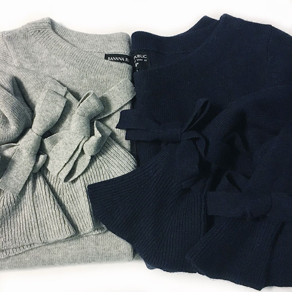 Grey and navy bell tie sleeve sweater | www.shoppingmycloset.com @bananarepublic #bananarepublic