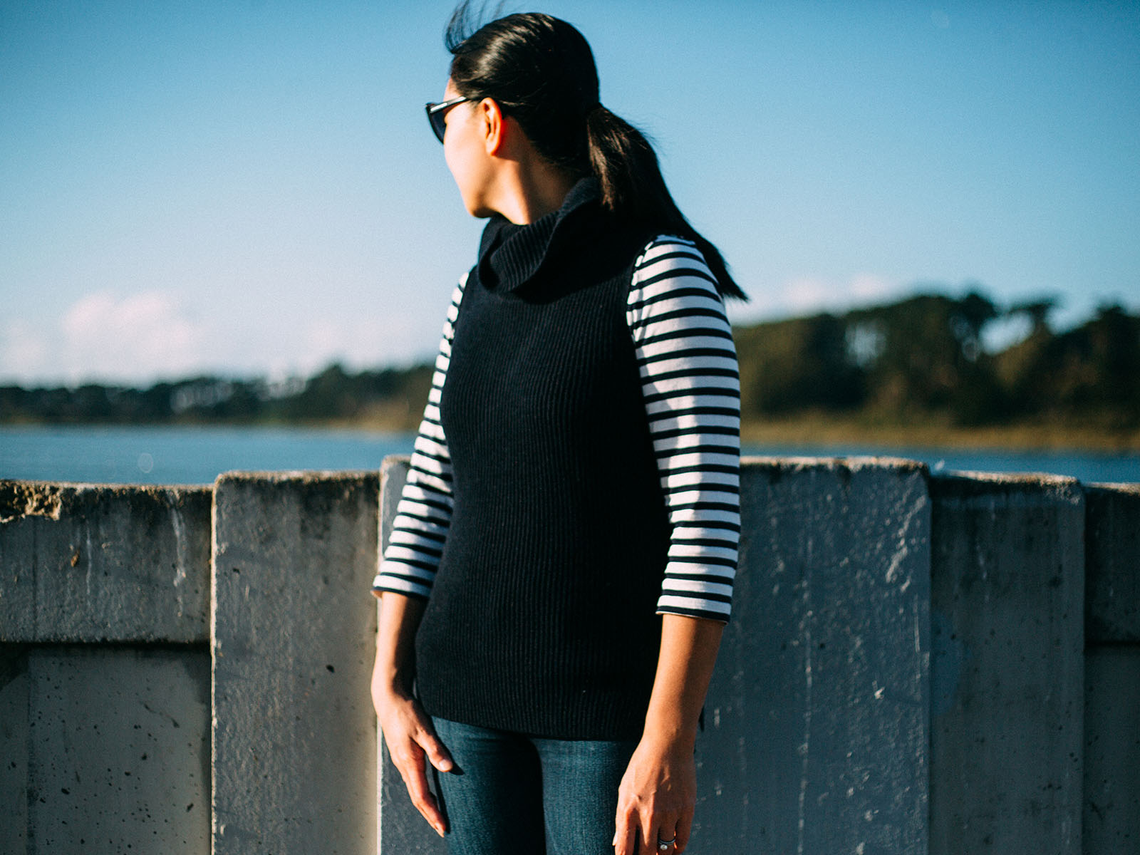 Navy sleeveless sweater   stripe shirt   skinny jeans   grey booties   www.shoppingmycloset.com   @gap #gap @jcrew #jcrew @paigedenim #paigedenim @samedelman #samedelman