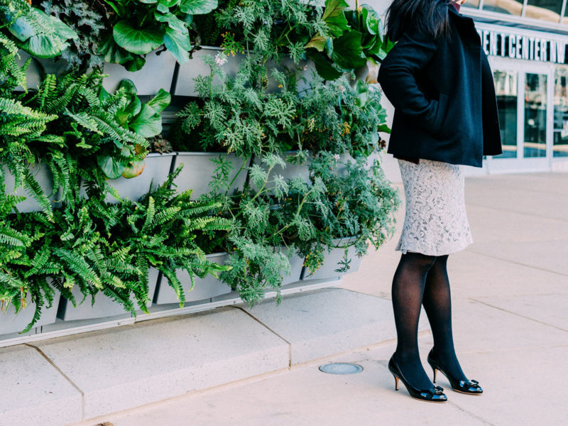 Burgundy mockneck pocket sweater   hooded black coat   lace skirt   bow pumps   www.shoppingmycloset.com    @nordstrom #nordstrom @bananarepublic #bananarepublic @ferragamo #ferragamo @jcrew #jcrew