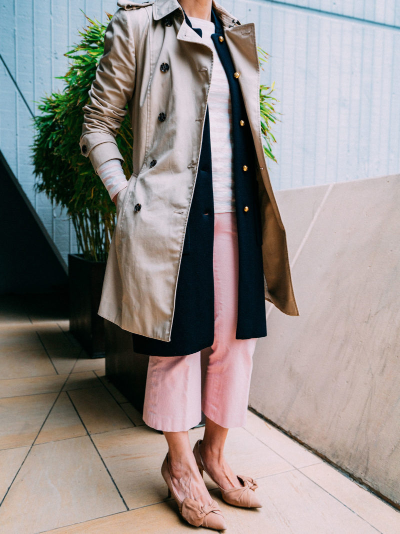 Trench coat | navy blue sleeveless vest | pink stripe shirt | pink pants | nude bow heels | www.shoppingmycloset.com