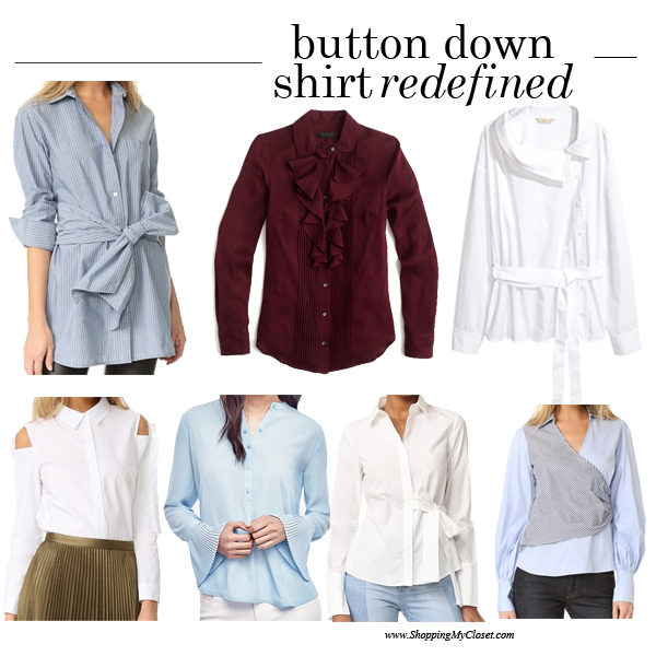 Redefined: button down shirt (tie front, pleats, cold shoulder, tuxedo) | see all the looks at www.shoppingmycloset.com