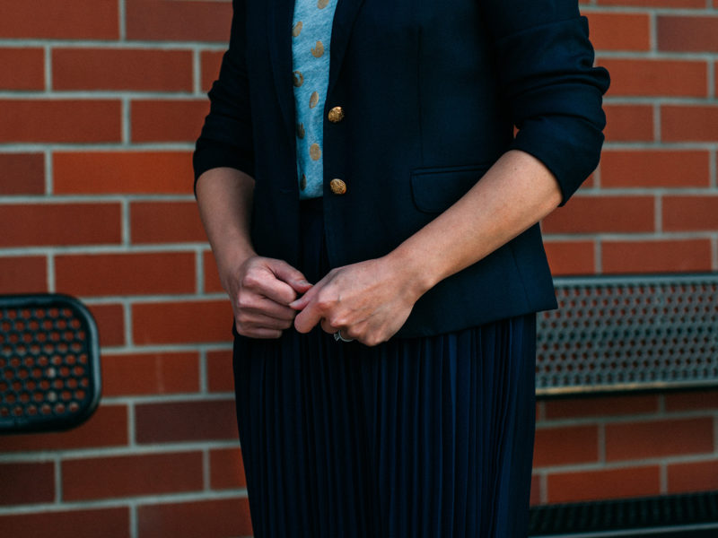 Navy blazer | gold polka dot shirt | pleated skirt | gold heels | www.shoppingmycloset.com .    @jcrew #jcrew @gap #gap @colehaan #colehaan