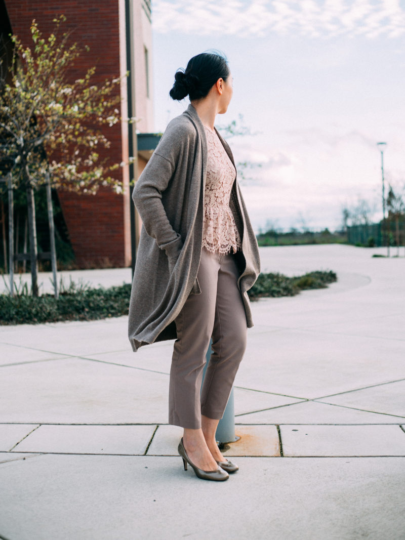Camel longline open cardigan | nude color peplum lace top | tan trousers | gold heels | www.shoppingmycloset.com     @vincesays #vince @jcrew #jcrew @loft #loft @colehaan #colehaan