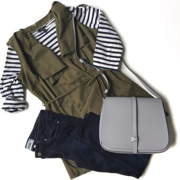 Black & white stripe shirt | olive green sleeveless vest | skinny jeans | grey saddle bag purse | see the look at www.shoppingmycloset.com