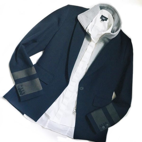 Navy stripe sleeve cutaway jacket blazer | white button down shirt | see the look at www.shoppingmycloset.com