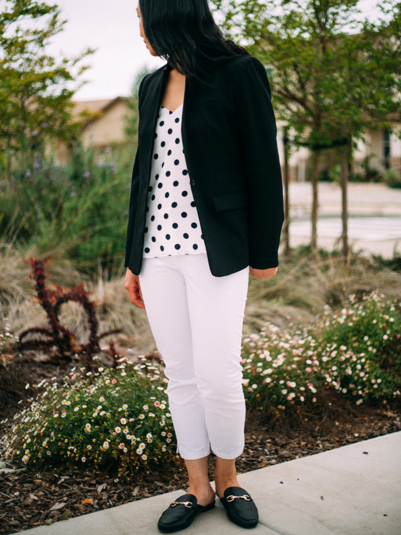 Popped collar black blazer | polka dot camisole | white pants | black slipon loafer mules | www.shoppingmycloset.com