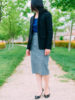 Black popped collar blazer | blue polka dot blouse | grey asymmetrical zipped skirt | black bow heels | www.shoppingmycloset.com