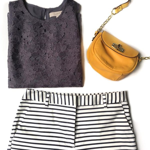 Lace floral overlay shirt | yellow crossbody purse | stirped shorts | www.shoppingmycloset.com