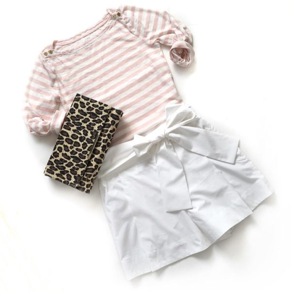 Striped pink tshirt | white waist tie bow shorts | leopard clutch | www.shoppingmycloset.com
