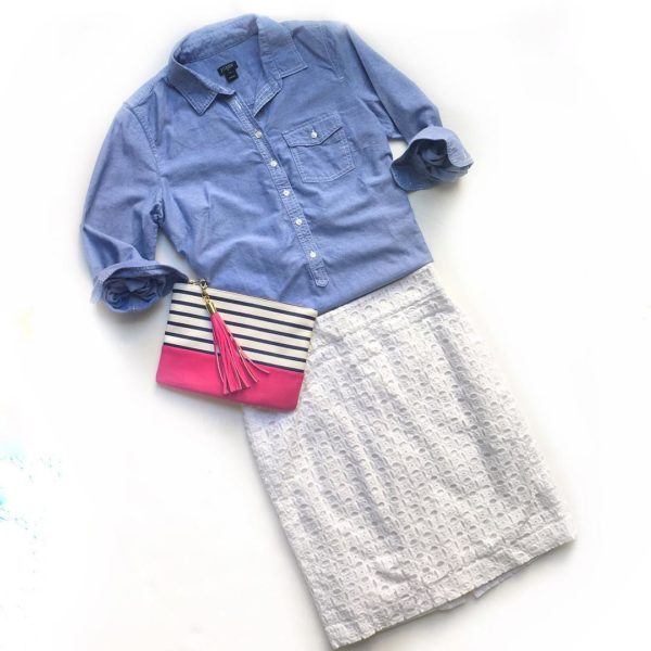 Chambray shirt | eyelet skirt | striped clutch | www.shoppingmycloset.com