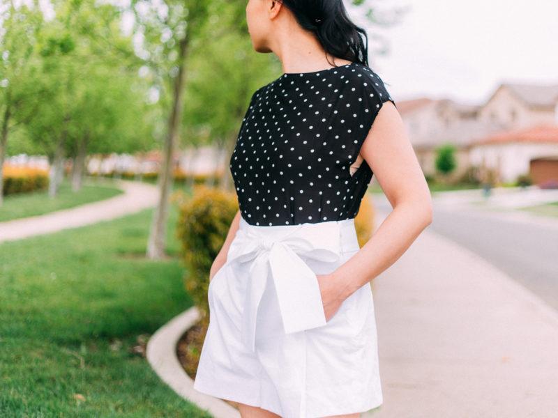 Polka dot blouse | white bow tie waist shorts | horsebit mule slides | www.shoppingmycloset.com     @loft #loft @jcrew #jcrew @target #target #targetstyle
