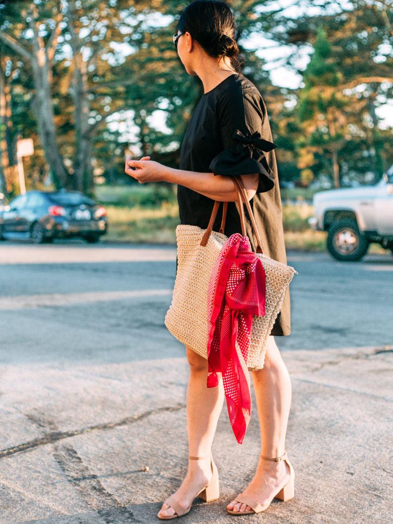Tie bell sleeve black dress | nude block heel | straw tote | pink scarf | www.shoppingmycloset.com     @whowhatwear #whowhatwear @target #target #merona