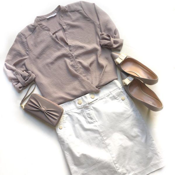 Blush crossover top | white nautical skirt | blush bow keeps | blush bow wallet clutch | www.shoppingmycloset.com