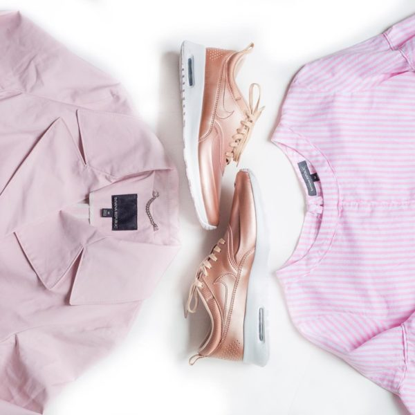 Pink trench coat | pink tennis shoes | pink striped ruffle sleeve tee | www.shoppingmycloset.com