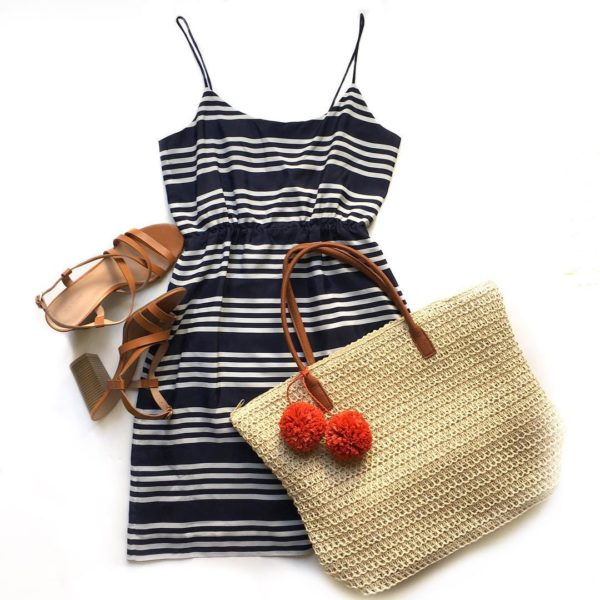 Striped summer dress | straw tote | brown block sandals | www.shoppingmycloset.com