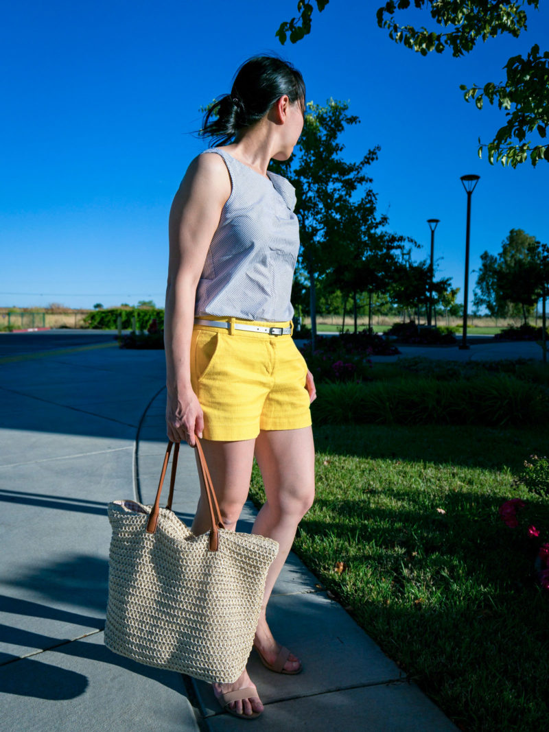 Grey striped bow shoulder top | yellow shorts | nude block heel sandals | straw tote | www.shoppingmycloset.com     @bananarepublic #bananarepublic @jcrew #jcrew @target #target