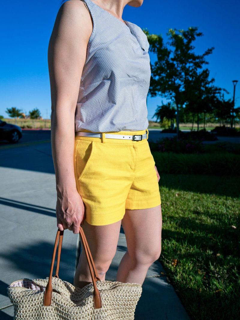 Grey striped bow shoulder top | yellow shorts | nude block heel sandals | straw tote | www.shoppingmycloset.com     @bananarepublic #bananarepublic @jcrew #jcrew @target #target